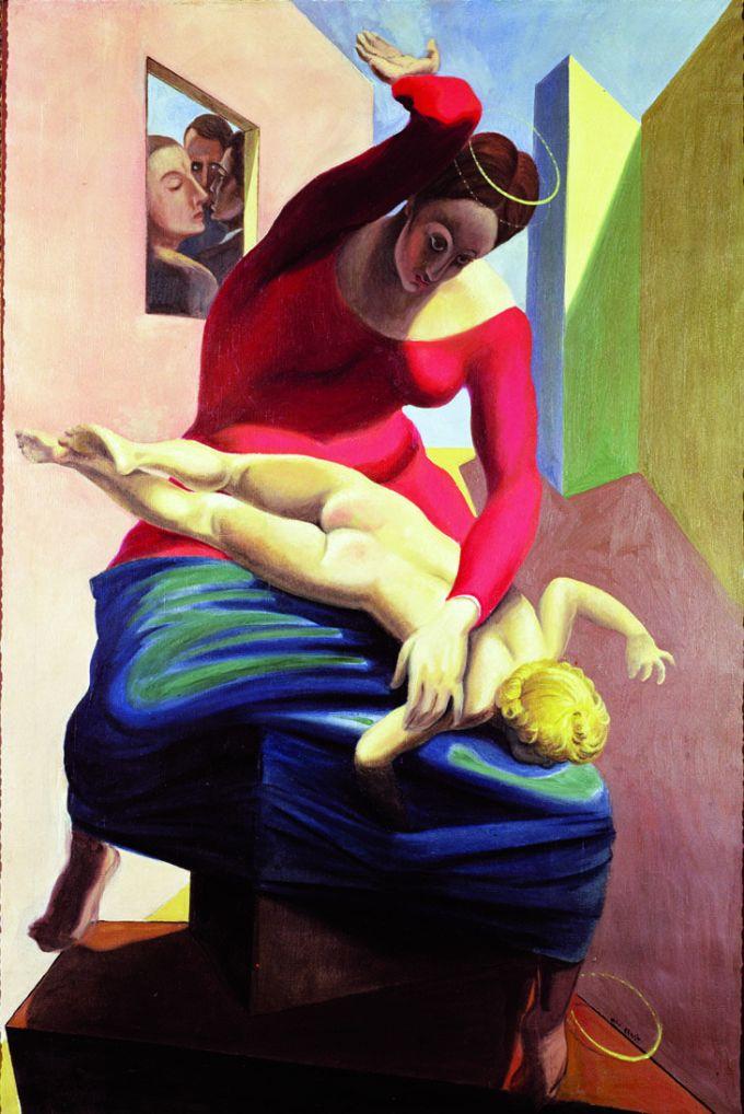 The Blessed Virgin Chastising the Infant Jesus Before Three Witnesses: A.B., P.E. and the Painter, 1926 (oil on canvas) Ernst, Max (1891-1976) PETER WILLI, ,