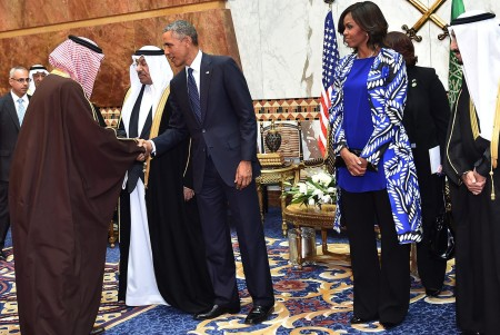 epa04589159 A handout picture provided by the Saudi Press Agency (SPA) shows US President, Barack Obama (centre - L) accompanied by his wife, Michelle Obama (centre - R), the new Saudi King, Salman bin Abdul Aziz (R), and deputy Crown Prince and Interior Minister, Mohammed bin Nayef (2 - L) shortly after his arrival in Riyadh, Saudi Arabia, 27 January 2015. Obama cut short his trip to India to head a high profile delegation to one of America's closest allies in the Middle East to offer his condolences on the death of the late King Abdullah bin Abdulaziz al-Saud and attend a bilateral meeting at the Erga Palace, to discuss regional developments including Yemen, Iran and the ongoing unrest resulting form the activities of the group calling themselves the Islamic State (IS). EPA/SAUDI PRESS AGENCY / HANDOUT HANDOUT EDITORIAL USE ONLY/NO SALES