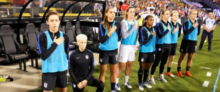 COLUMBUS, OH - SEPTEMBER 15: Megan Rapinoe #15 of the U.S. Women's National Team kneels during the playing of the U.S. National Anthem before a match against Thailand on September 15, 2016 at MAPFRE Stadium in Columbus, Ohio. Jamie Sabau/Getty Images/AFP