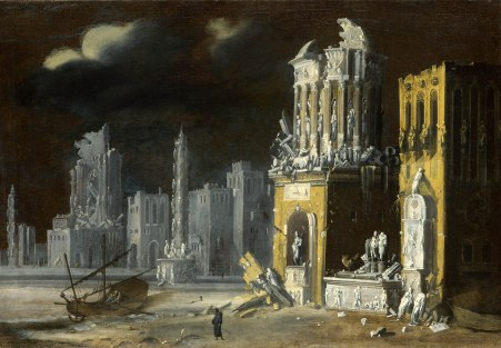 Fantastic Ruins with Saint Augustine and the Child (Francois de Nome aka Monsù Desiderio, 1623, The National Gallery, London)