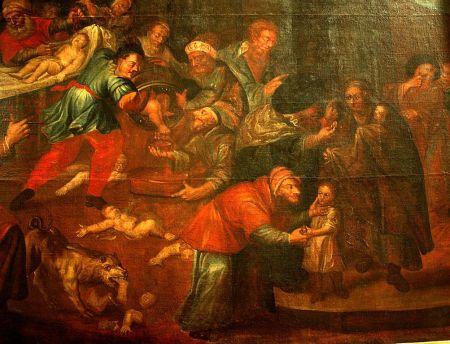 Représentation d'un « meurtre rituel », cathédrale de Sandomierz, Pologne, XVIIIe siècle