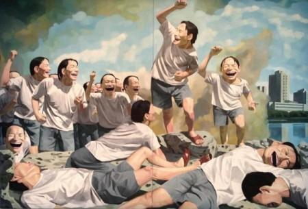 Liberty leading the people (Yue Minjun, 1996)